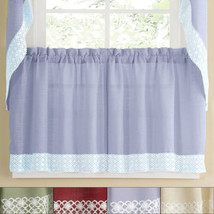 Salem Kitchen Window Curtain w/ Lace Trim - 24 x 60 Tier Pair - $16.19