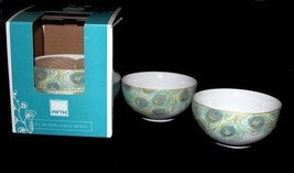 4 LAKSHMI Turquoise Teal & Gold Peacock Feathers Cereal Bowls 222 Fifth NIB - $39.99
