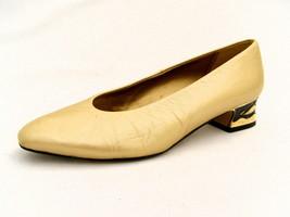 "Nina Gold Leather Women's 7½M Pumps 1¼"" Kitten Heels Dressy Spain Good Condition - $27.47"