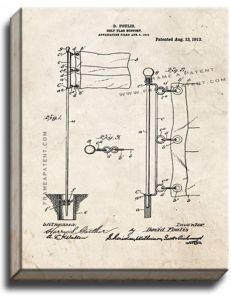 Primary image for Golf Flag Support Patent Print Old Look on Canvas