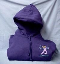 Cancer Survivor Hoodie 2XL Lavender Angel Awareness Ribbon Purple Sweats... - $37.21