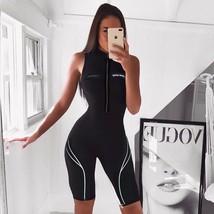 Waatfaak Black Zipper Up Summer Outfit Playsuit Short Women Romper Bodyc... - $36.89