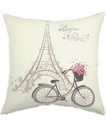 "1x Square Cushion Cover Throw Pillow 18x18"" Cotton Linen Paris Eiffel Be... - $9.85"