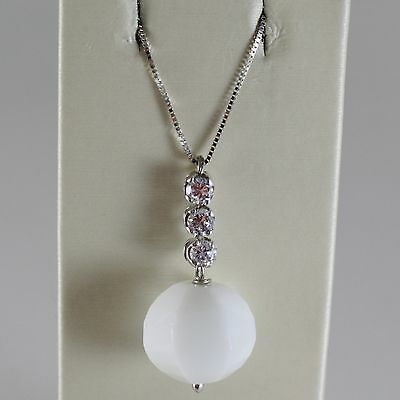 18K WHITE GOLD CHAIN NECKLACE, ROUND FACETED WHITE AGATE 6.7 CT MADE IN ITALY