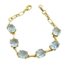 splendiferous blue topaz cz Gold Plated Blue Bracelet genuine jewelry US gift - $24.74