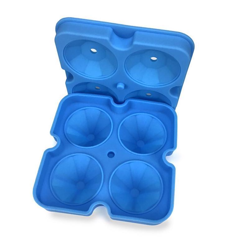 Diamond Shape Ice Cube Maker Mold 4 Party Whisk Ice Ball Tray Silicone Bar Tool