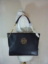 NWT Tory Burch Black Pebbled Leather Small Britten Slouchy Tote - $475 - $443.52