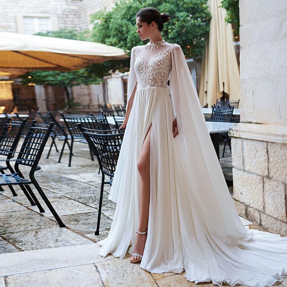 Lace flowers chiffon beach wedding dresses with shawl elegant alibaba china skirt slit open back