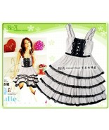 Cute Teen Girls' Tiered Dress with Dot Print and Lace - $10.00
