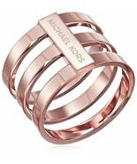 MKJ4055 Michael Kors Barrel Ring Polished Rose Gold Tone - $55.30
