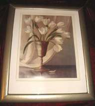"Framed Floral Vase print signed 19""x23"" Matted Wooden - $35.00"