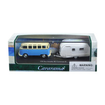 Volkswagen Bus Samba Blue with Caravan II Trailer in Display Showcase 1/... - $17.94