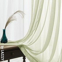 Voile Curtains for Bedroom Sheer Curtain 63 inch Long Sage (W55 x L63|Sage) - $20.05
