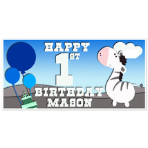 Zebra with Balloons Birthday Banner Personalized Party Backdrop - $23.64