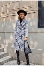 Women's New Style Long English Vintage Plaid Full Length Woolen Trench Coat image 2