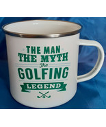 The Man The Myth The Golf Legend Enamel Metal Coffee Cup Mug Almost 2 Cups Full - $14.85