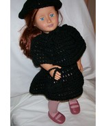 American Girl 4 Piece Outfit, Handmade, Crochet, Poncho, Skirt, Hat, Purse - $27.00
