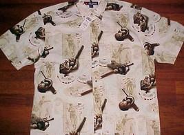 Baseball Theme Boys of Summer Reel Legends Motif Brown Beige Men's Shirt XL New - $44.50