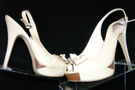 Enzo Angiolini Sweetness beige leather open toe slingback platform shoe 8M - $9.49