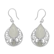 Natural rainbow moonstone pear shape 925 sterling silver white rhodium e... - $23.38