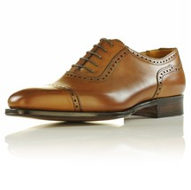 Handmade Men's Brown Leather Dress/Formal Oxford Shoes image 3