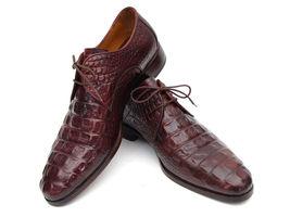 ID Bordeaux Calfskin Derby amp; Brown Embossed Parkman Shoes Crocodile Paul Men's AqxfPOgv