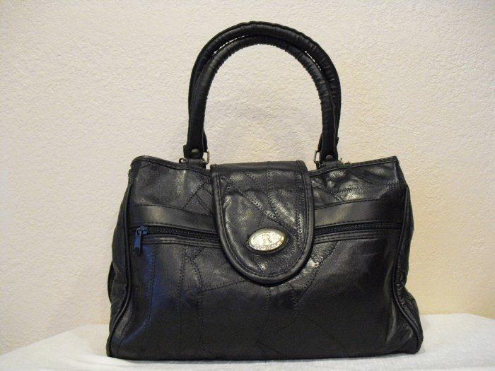 Black Patched Leather handbag Bonanza