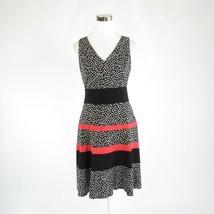 Black white polka dot ANNE KLEIN stretch sleeveless A-line dress 2 - $24.99