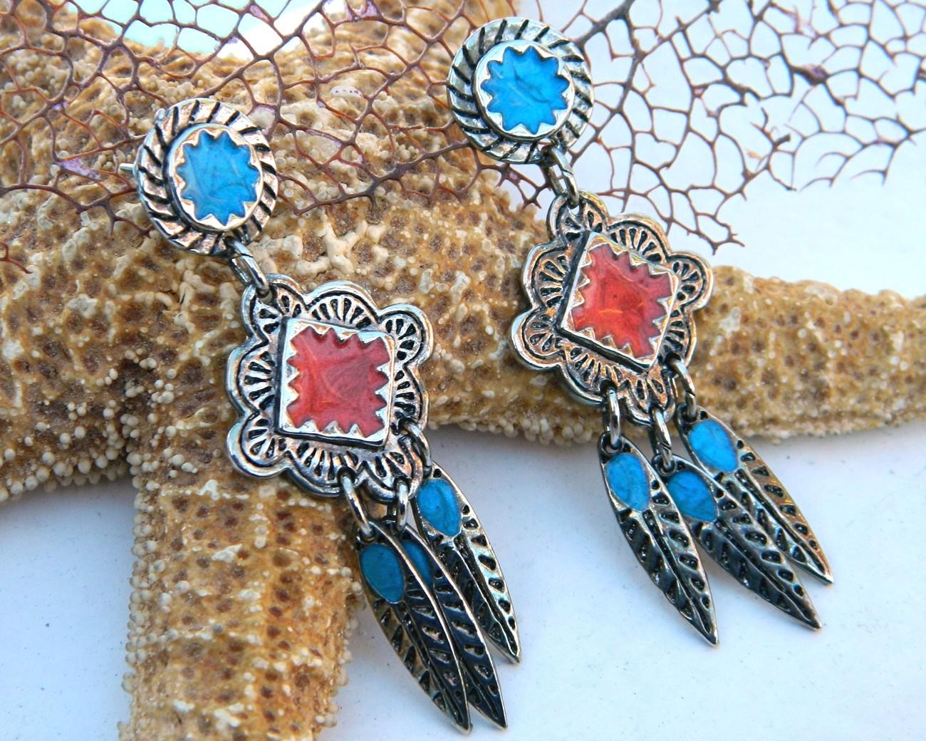 Vintage Berebi Southwestern Earrings Enamel Feather Dangles Pierced