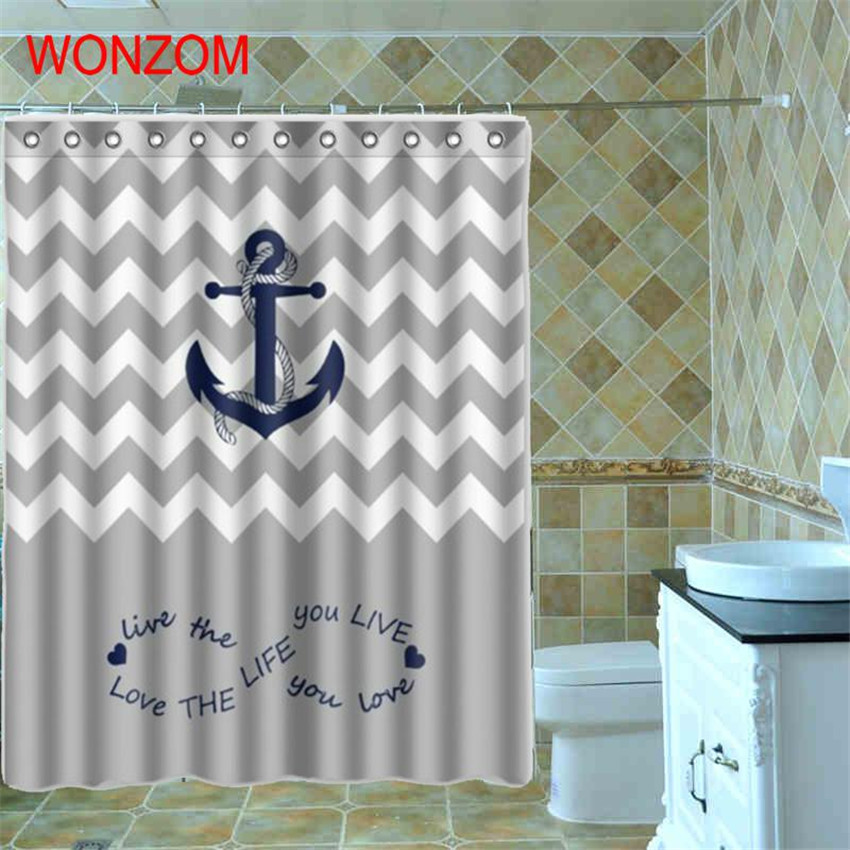 WONZOM 1Pcs Anchor Waterproof Shower Curtain Striped Bathroom Decor Ocean Decora