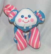"Fisher Price Monkey Rattle Plush 1990 Pink Blue Stuffed Cloth Baby Toy 7"" - $12.72"
