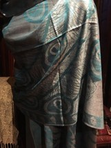 Vintage Gray And Teal Peacock Brocade Tasseled Shawl Wrap Scarf - $34.65