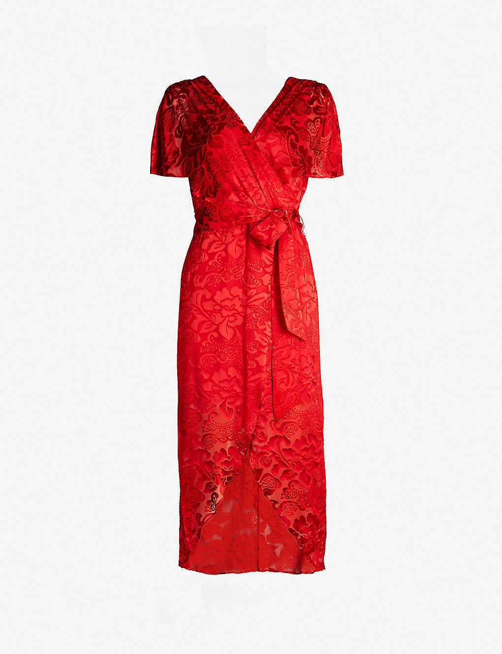 Primary image for New $440 Alice+Olivia Darva Ruby Baroque Floral Burnout Chiffon Wrap Dress SZ 6