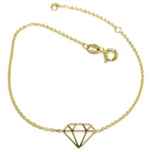 18K YELLOW GOLD ROLO MINI BRACELET, 7.3 INCHES, OPENWORK FLAT DIAMOND IT... - $105.00