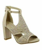 TOP MODA, Beige Perforated Cutout Marilyn Sandal, Sz 5.5 - $18.81