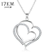 17KM Silver Color Romantic Wedding Rhinestone Heart Pendant Choker Neckl... - $13.95