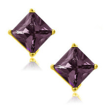 Alexandrite Square Princess Cut CZ Crystal YGP 925 Sterling Silver Stud Earrings - $34.63+