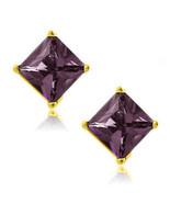 Alexandrite Square Princess Cut CZ Crystal YGP 925 Sterling Silver Stud Earrings - $34.63 - $38.59