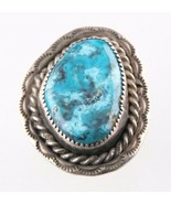 Vintage Silver Blue-Green Turquoise Ring (Size 6) Free-Form Stunning & S... - $54.40