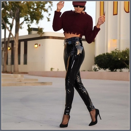 "Black Skin Tight Faux Latex ""Wet Look"" Zip Up Fly Front Pockets Stretch PU Pants"