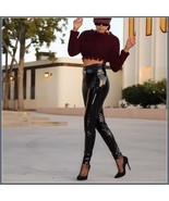 Shiny Black Tight Fit Faux Leather High Waist Front Zip Up Legging Penci... - $68.95