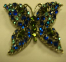 Large Blue and Green Butterfly brooch - $14.85