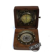 Victoria Shelf Clock Vintage Compass-Clock Retro Table Top Wooden Box Gi... - $33.87