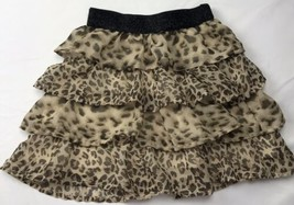 Childrens Place Ruffled Skirt 7/8 Leopard Cheetah Animal Print Chiffon D... - $29.46