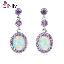 CiNily Large White Fire Opal Oval Stone Earrings Silver Plated Violet Lilac Purp - $22.30
