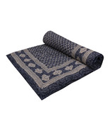Home Furnishing Bedding Quilt Bedspread Indigo Buti Jaipuri Block Print - $47.00