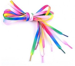 GOOTRADES Polyester Rainbow Color Flat Shoelaces For Shoes Sneakers 42''... - $14.68