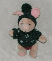 STUFFED PLUSH WINNIE THE POOH PIGLET JOINTED IN GREEN SNOWFLAKE SWEATER ... - $37.61