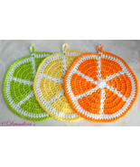 3 Dishcloths Citrus Summer Lemon Lime Orange Heat Pad Washcloths Patio P... - $12.99