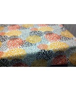 FALL MUMS TABLECLOTH - Yellow, Grey and Orange Mums blooms Floral  Autum... - $55.00